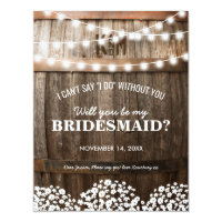 will you be my bridesmaid rustic country chic