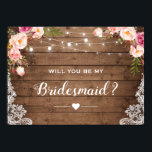 """Will You Be My Bridesmaid Rustic Floral Lace Card<br><div class=""""desc"""">This &quot;Will You Be My Bridesmaid Rustic Floral Lace Card&quot; is easy to personalize to match your colors, styles and theme. (1) For further customization, please click the &quot;customize further&quot; link and use our design tool to modify this template. (2) If you prefer thicker papers / Matte Finish, you may...</div>"""