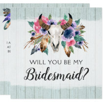 Will You Be My Bridesmaid Rustic Floral Skull Card