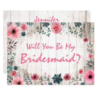 Will You Be My Bridesmaid? Rustic Floral Wedding Card