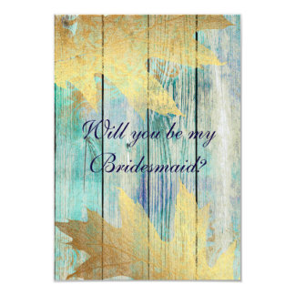 Will You Be My Bridesmaid? Rustic Golden Mint Blue Card
