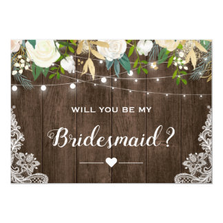 Will You Be My Bridesmaid Rustic Romantic Floral Invitation