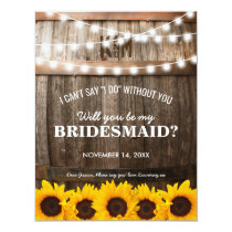 Will you be my Bridesmaid? | Rustic Sunflower Card