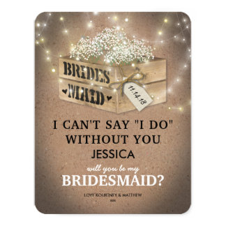 Will You Be My Bridesmaid | Rustic Twinkle Lights Card