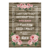 Will you be my Bridesmaid | Rustic Vintage Card