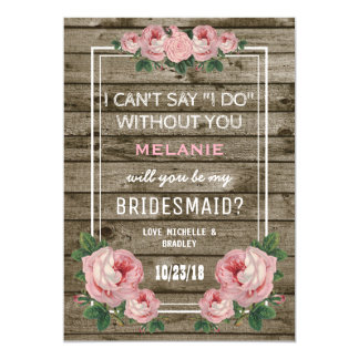Will you be my Bridesmaid | Rustic Vintage Invitation