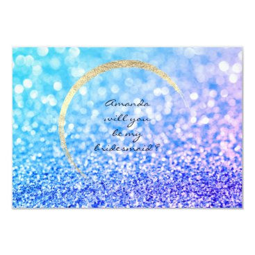 Beach Themed Will You Be My Bridesmaid Sapphire Gold Glitter Card