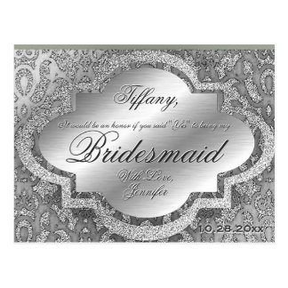 Will You Be My Bridesmaid? Silver Damask Postcard