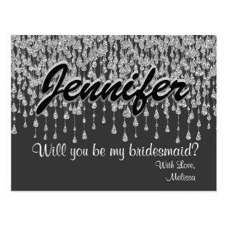 Will You Be My Bridesmaid | Silver Diamonds Postcard