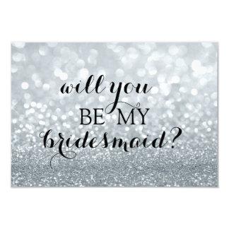 Will You Be My Bridesmaid - Silver Glitter Fab Invitation
