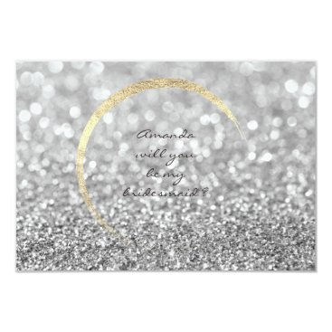 Beach Themed Will You Be My Bridesmaid Silver Gray Gold Glitter Card