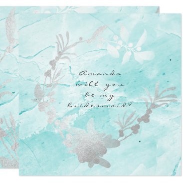 Beach Themed Will You Be My Bridesmaid Silver Marble Tiffany Card
