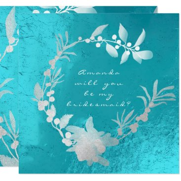 McTiffany Tiffany Aqua Will You Be My Bridesmaid Silver Turquoise Wreath Card