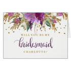 Will You Be My Bridesmaid Sparkling Amethyst Card