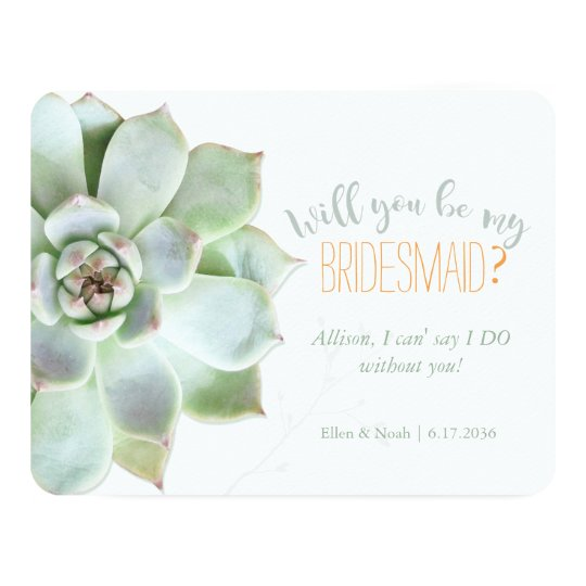 Will You Be My Bridesmaid Succulent Wedding Invitation