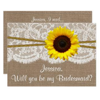 Will You Be My Bridesmaid? Sunflower Rustic Burlap Invitation