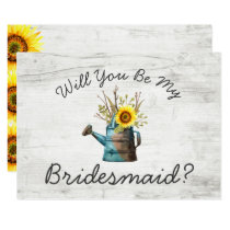 Will You Be My Bridesmaid? Sunflower & Rustic Wood Invitation