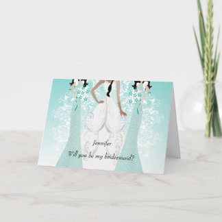Will you be My Bridesmaid? Teal Invitation