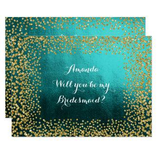 Will You Be My Bridesmaid Teal Vip Gold Confetti Invitation