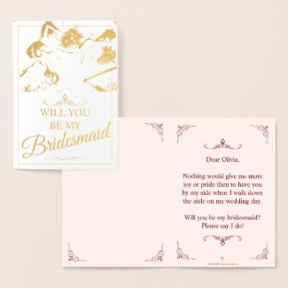 Will you be my bridesmaid? Three lying bridesmaids Foil Card