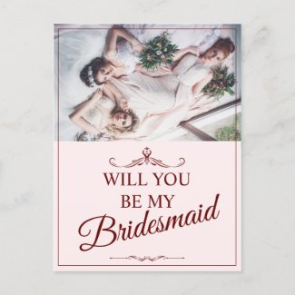 Will you be my bridesmaid? Three lying bridesmaids Holiday Postcard