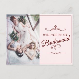 Will you be my bridesmaid? Three lying bridesmaids Invitation Postcard