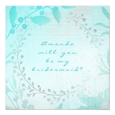 Beach Themed Will You Be My Bridesmaid Tiffany Aqua Blue Wreath Card