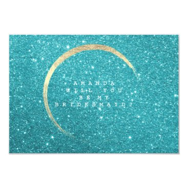 Beach Themed Will You Be My Bridesmaid Tiffany Gold Glitter Card