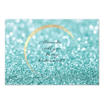 Beach Themed Will You Be My Bridesmaid Tiffany Gold Glitter VIP Card