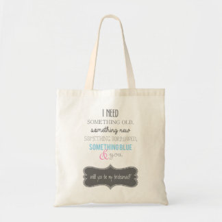 will you be my bridesmaid? tote bag. budget tote bag