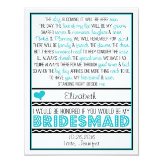 Will you be my Bridesmaid? Turquoise/Black Poem 4.25x5.5 Paper Invitation Card