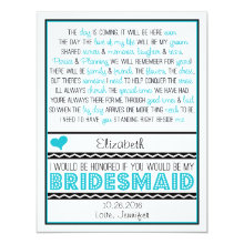 Will you be my Bridesmaid? Turquoise/Black Poem V2 4.25x5.5 Paper Invitation Card