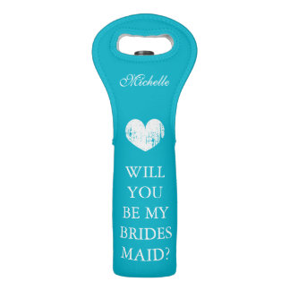 Will you be my bridesmaid turquoise wine tote bags