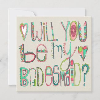 Will You Be My Bridesmaid Typography Retro Announcement