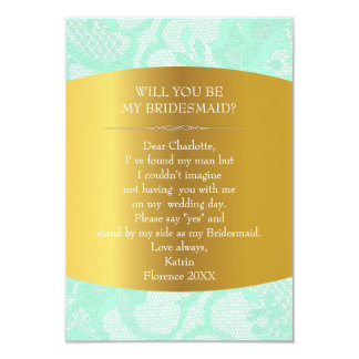 Will You Be My Bridesmaid? Vintage Burlap & Lace Card