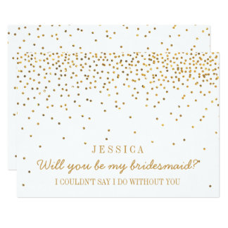Will You Be My Bridesmaid? Vintage Gold Confetti Invitation