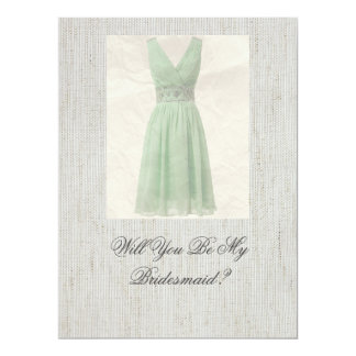 Will You Be My Bridesmaid Vintage Green Invitation