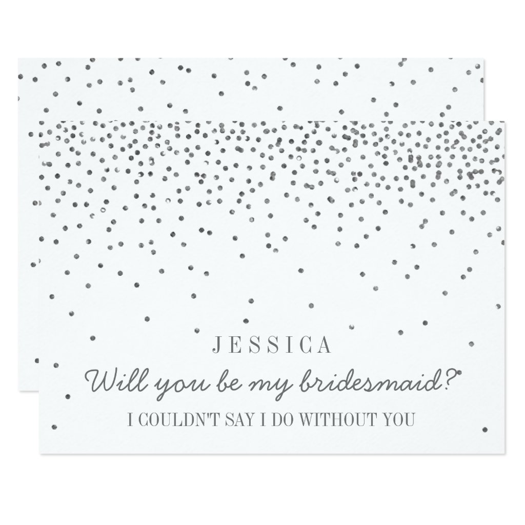 Will You Be My Bridesmaid? Vintage Silver Confetti Invitation