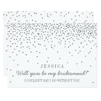 Will You Be My Bridesmaid? Vintage Silver Confetti Invitation