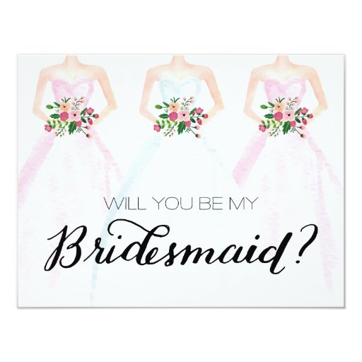 will you be my bridesmaid watercolor dress bouquet card zazzle. Black Bedroom Furniture Sets. Home Design Ideas