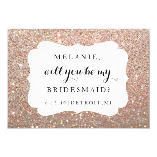 Will You Be My Bridesmaid-Wedding Day Rose Glitter Invitation