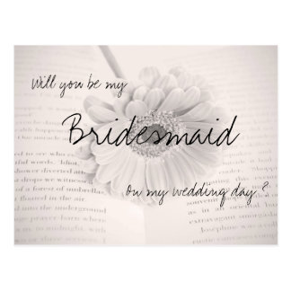 Will you be my bridesmaid wedding postcard