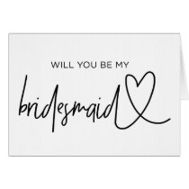 Will You Be My Bridesmaid Wedding Proposal Card