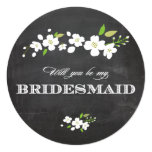 Will You Be My Bridesmaid White Blossom Circle Card