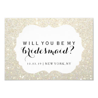 WIll You Be My Bridesmaid - White Gold Fab Dressed Card
