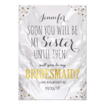 Will you be my Bridesmaid   White Gold Sister Card