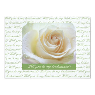 will you be my bridesmaid white rose  green letter card
