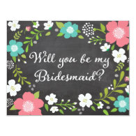 Please Be My Bridesmaid Wild Flowers 4.25x5.5 Paper Invitation Card