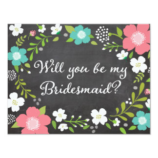 Will You Be My Bridesmaid Wild Flowers 4.25x5.5 Paper Invitation Card
