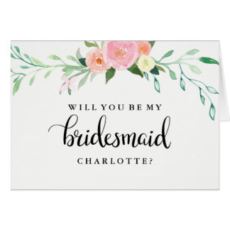Will You Be My Bridesmaid Wildflower watercolor Card